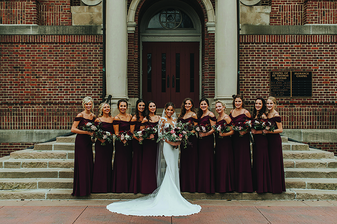 Ashley and her bridesmaids outside of the Chapel of St. Thomas Aquinas