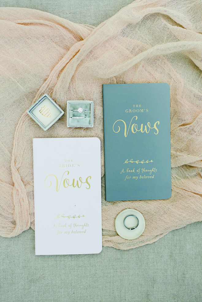 Chelsey and Tom's custom notebooks containing the wedding vows they wrote.