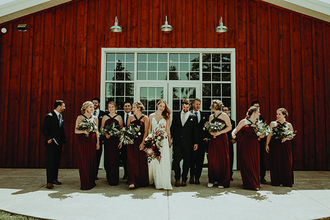 Heidi and Erik with their wedding party at Almquist Farm.
