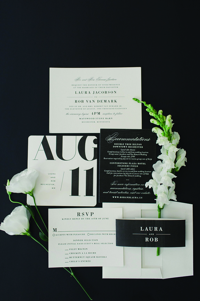 Laura and Rob's black and white invitations