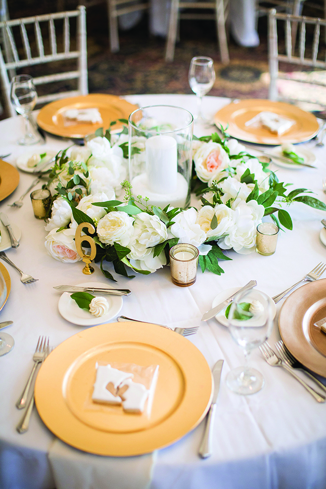 A table set for the reception at Wayzata Country Club