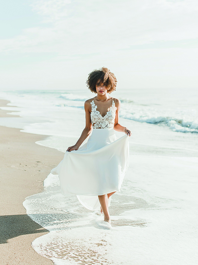 A beach bride models bridal separates from linyage