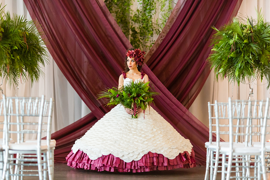 Holiday colors and a paper wedding dress