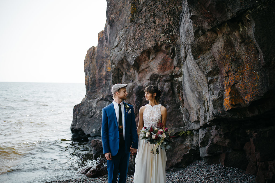 Cliff and water wedding photo