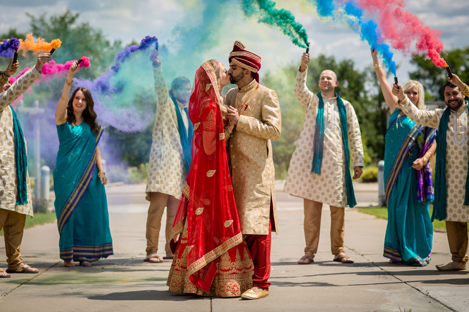 Hindu and Christian ceremonies, celebrated with bursts of color, in honor of one couple's love