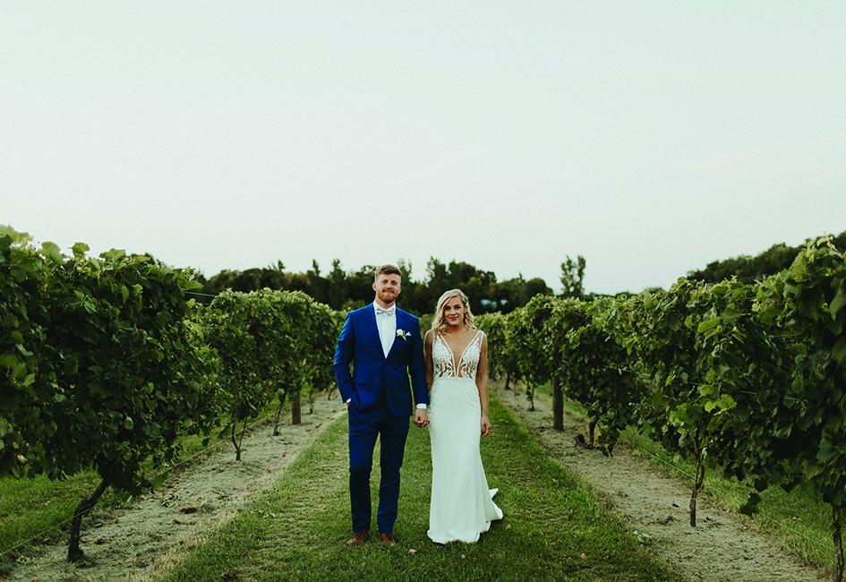Lindsay and Hunter among the grapes at Carlos Creek Winery