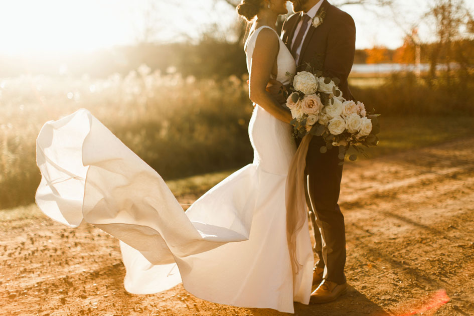 Bride and groom brave 30-degree weather for photos outside Bloom Lake Barn