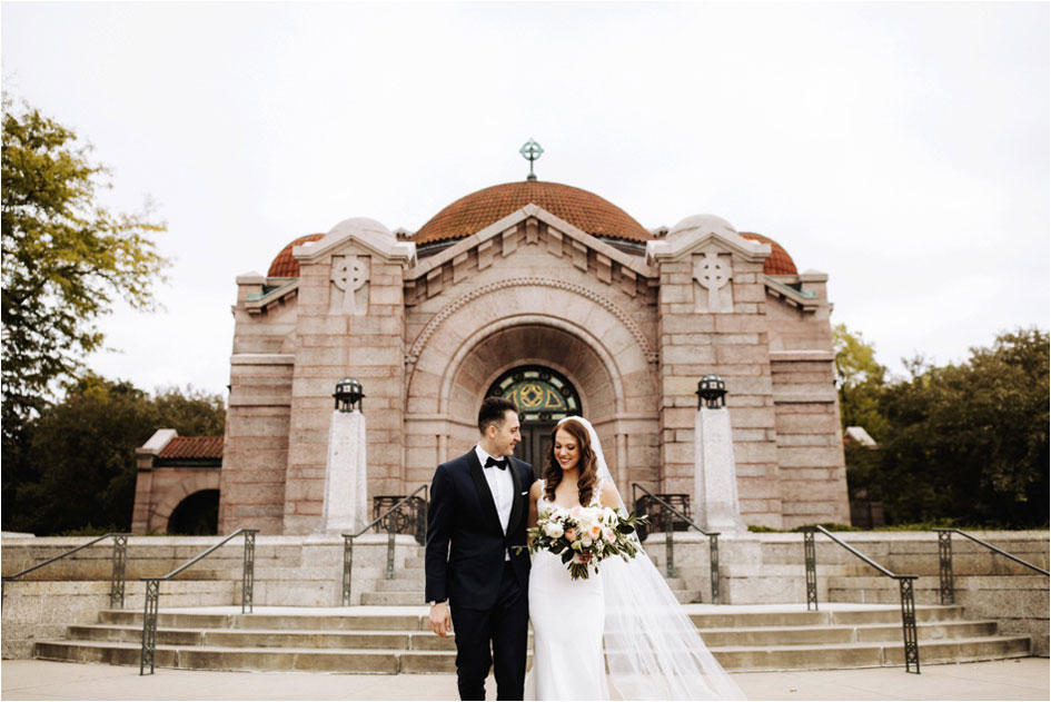 Allie and Daniel at Lakewood Memorial Chapel after their wedding ceremony.