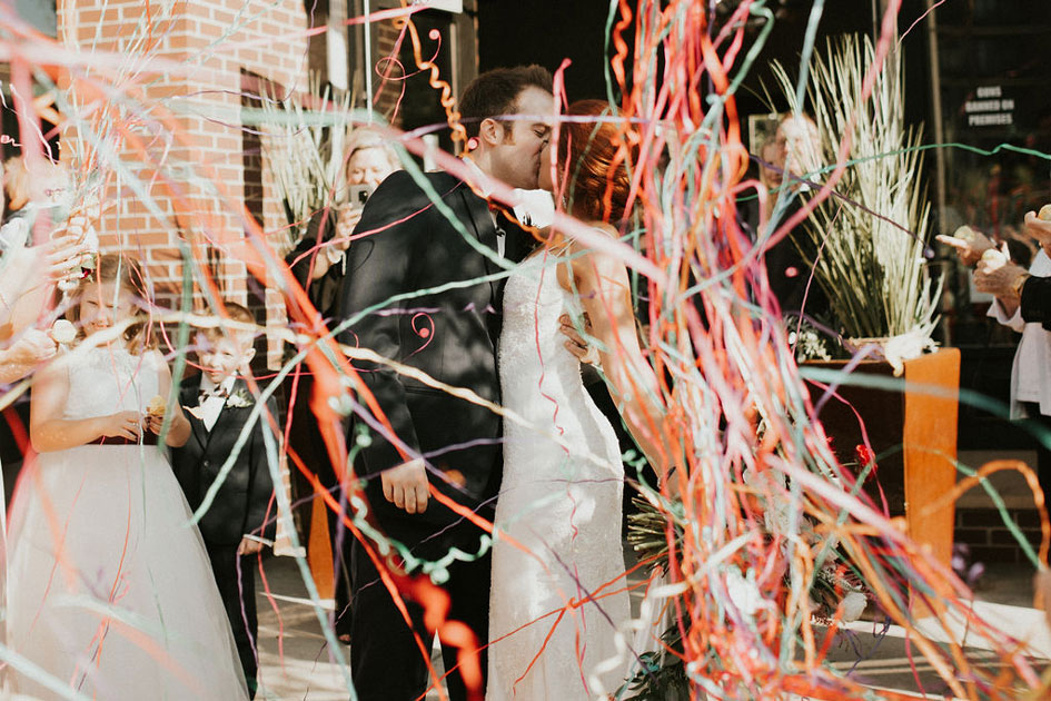 Streamers rain down after Dylan and Kayla's ceremony