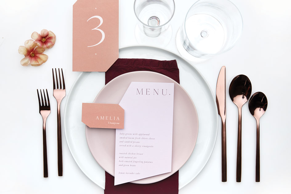 Place setting from CB2 and Rudy's Event Rentals