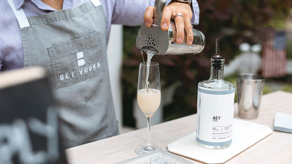 A fresh summer drink made by BĒT Vodka Travel Bar in Minnesota.