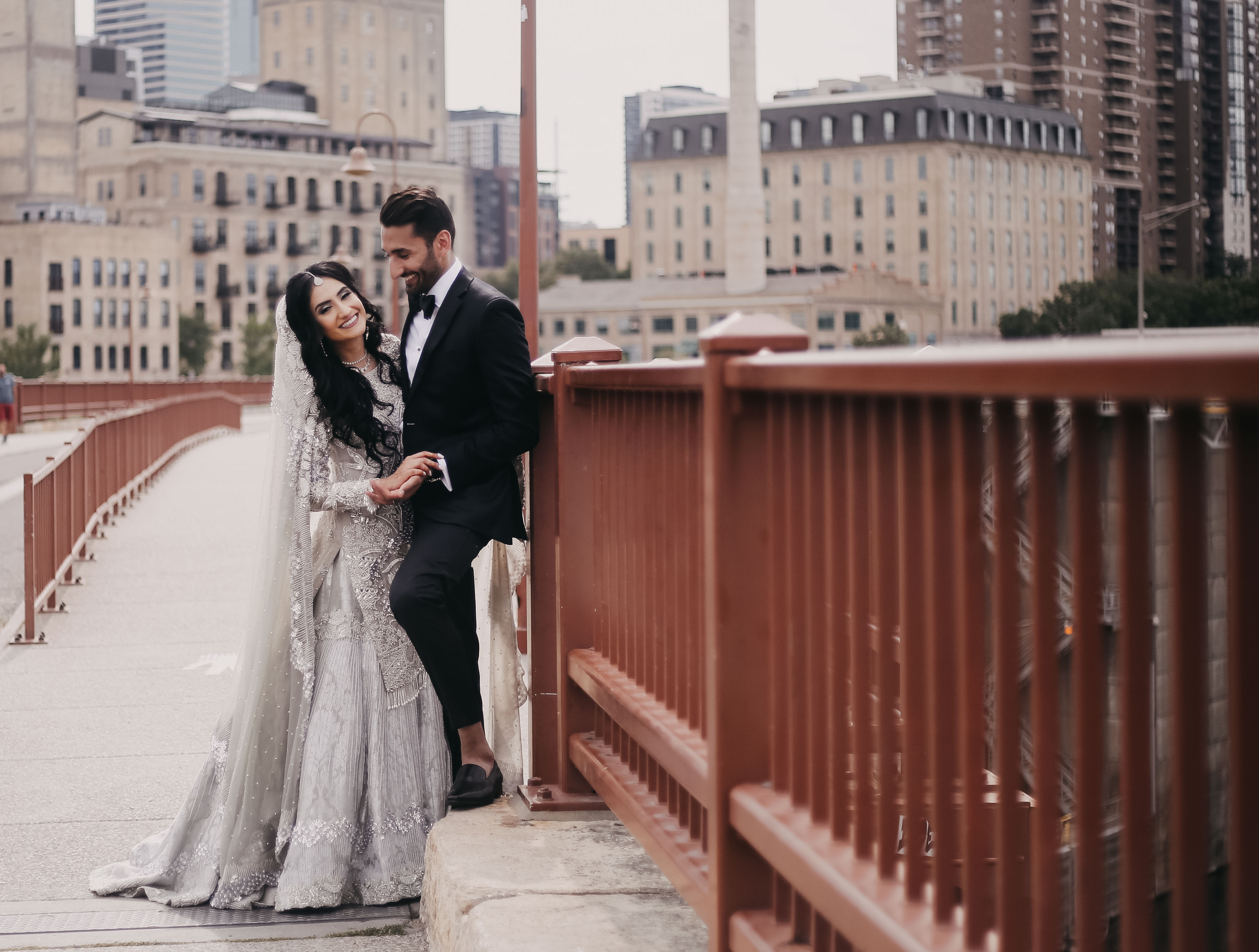 Aleeza and Salman posing on bridge before their traditional walima.