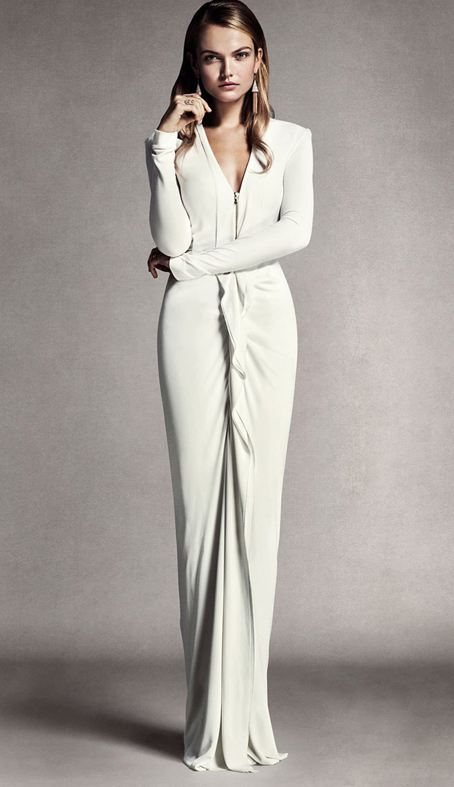 Sleek sexy wedding gowns by roland mouret minnesota bride for Long sleek wedding dresses