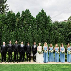 Bridal Party with blue hues at the St. Paul College Club