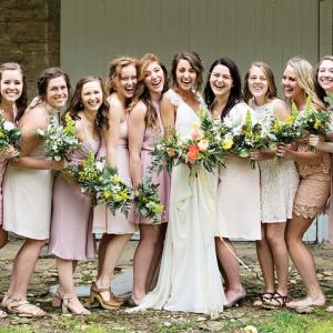 Bridal Party at the Mayowood Stone Barn