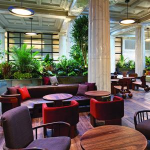 The lobby of Emery, the rebranded Hotel Minneapolis.