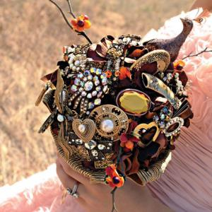 Fabric and Jeweled Wedding Bouquets