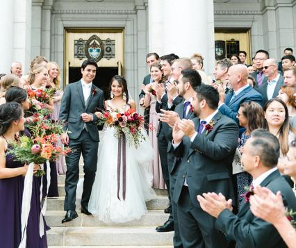 Bella and Travis get married at Lumber Exchange Event Center