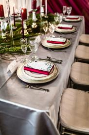 silver linens for wedding