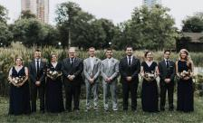 Wedding party in nature