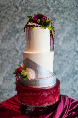 wedding cake with floral accents