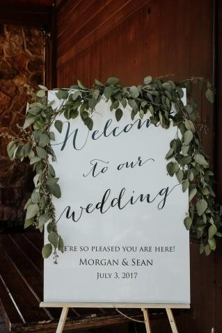 Wedding Welcome Sign at the Hope Glen Farm
