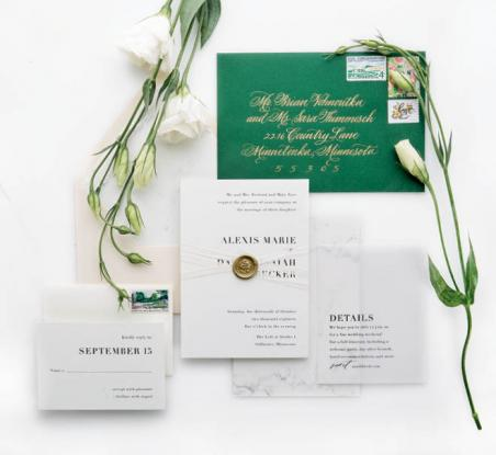 Emerald Green Wedding Invitation Suite Minnesota