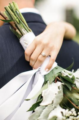 Wedding Ring with a beautiful bouquet
