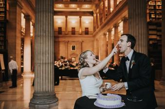 Couples Eating Cake at the James J. Jill Library in Minnesota