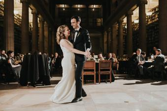 Intimate first dance at the James J. Hill Library in Minensota