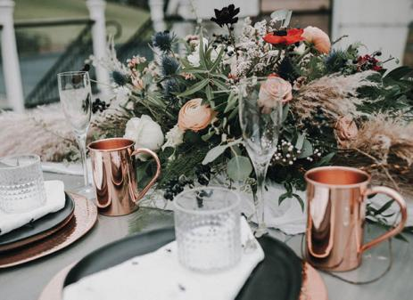 wedding bouquet with copper cup