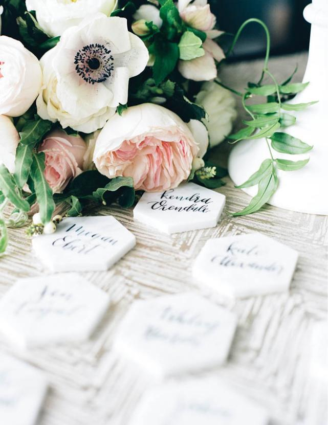 place setting with white name cards