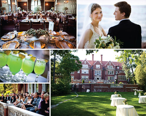 Elizabeth Post and Michael Bramlage wed on the deck at Duluth's Glensheen Mansion, followed by a reception at the nearby Kitchi Gammi Club. Photos by Amanda Allard Photography.