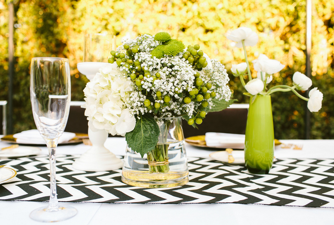 modern green and white outdoor California wedding