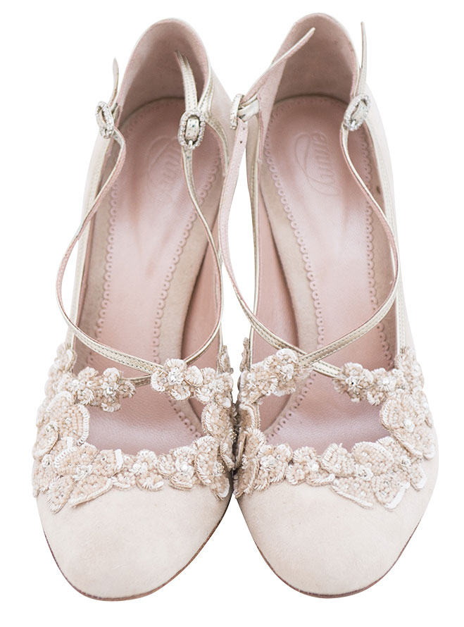 b40fd765852 Emmy London s British-inspired pastel pink kid suede pumps provide support  with delicate gold straps