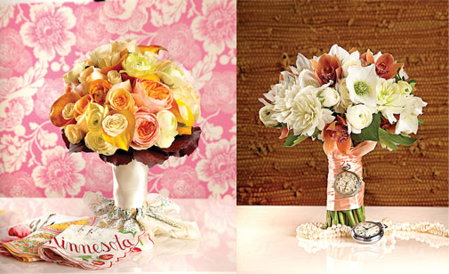 Weave heirloom jewels, fabrics or trinkets into your bridal bouquet.