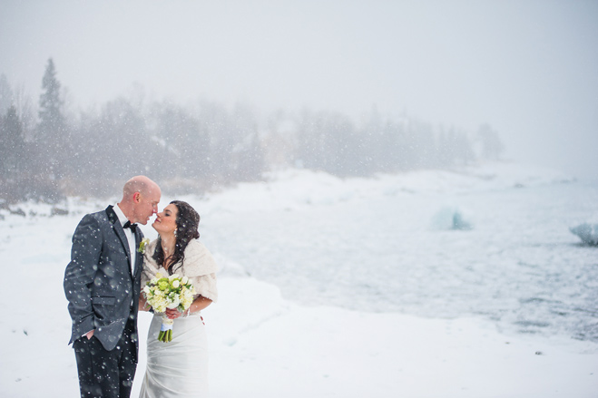A Blizzardy Winter Wedding on the North Shore of Minnesota