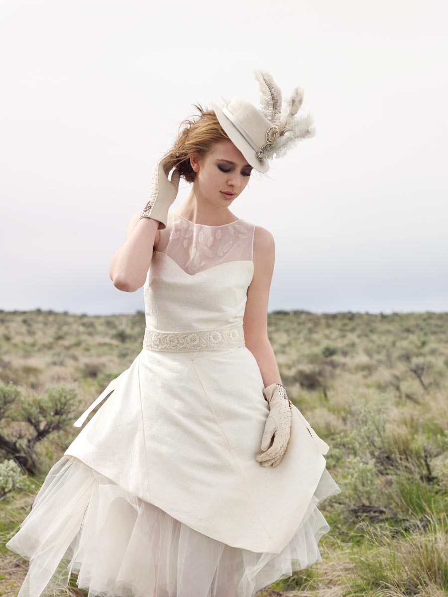 Above Ing In The Wind A Sweet Demure Tea Length Frock Is Accented By Ladylike Old West Style Feather Hat And Kid Gloves
