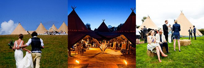 Multiple Canvas Tipi Wedding Photos