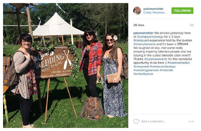 camp wedding #campwed instagram wisconsin minnesota wandawega retreat vendor workshop wedding business professional