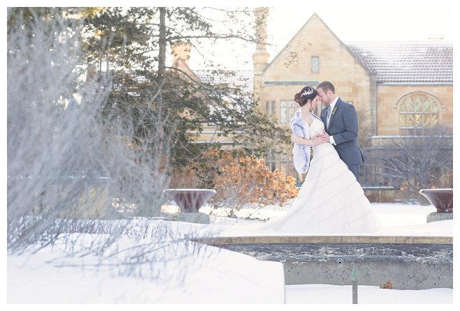 capture life moments photography wisconsin bride styled winter wedding groom bouquet centerpiece reception flowers snow