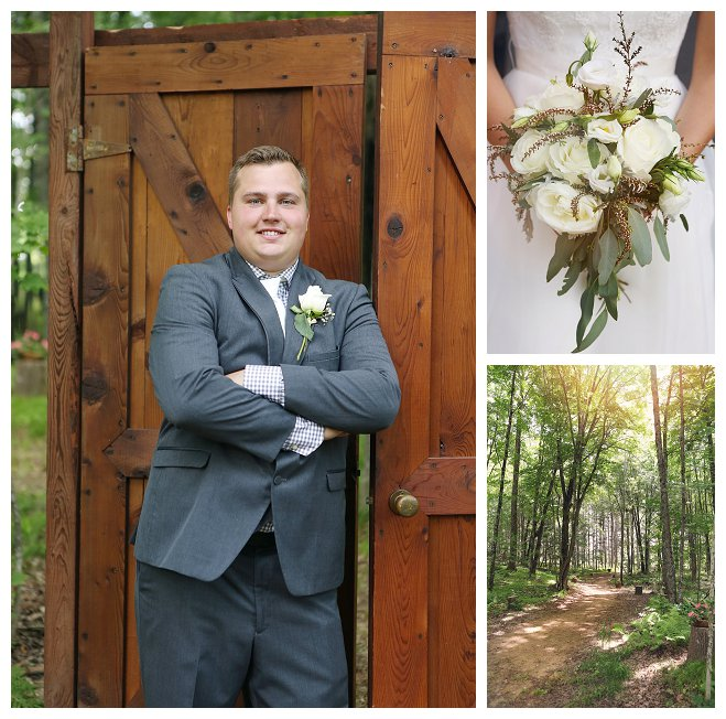 lissa ben hailey lundborg photography wedding marriage bride groom outdoors ceremony woods forest wisconsin bouquet bridesmaid flower cake cupcake photo picture love