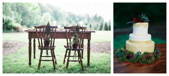 sandhill christmas tree inspiration photo shoot joe hang photography wedding bride groom floral crown timeless events bouquet flower table outside outdoors wisconsin cake