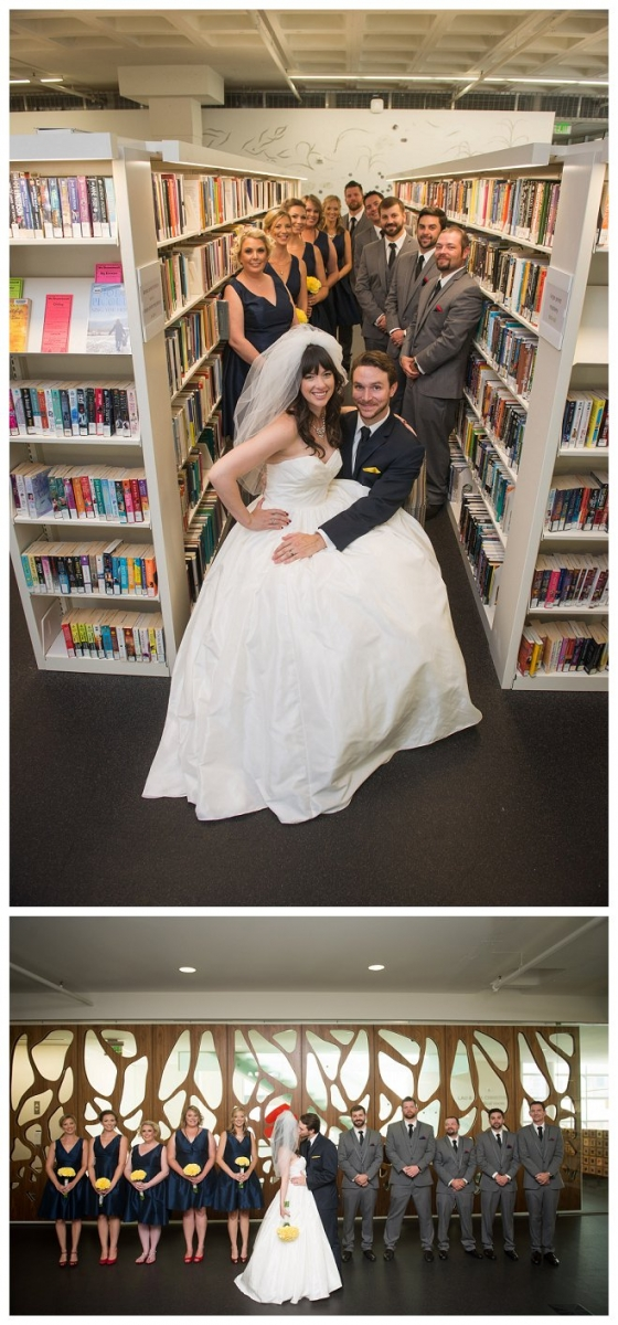 ellen ryan wedding amelia john photography wisconsin bride marriage madison public library book veil gown bouquet bridesmaid groom groomsmen steenbock university