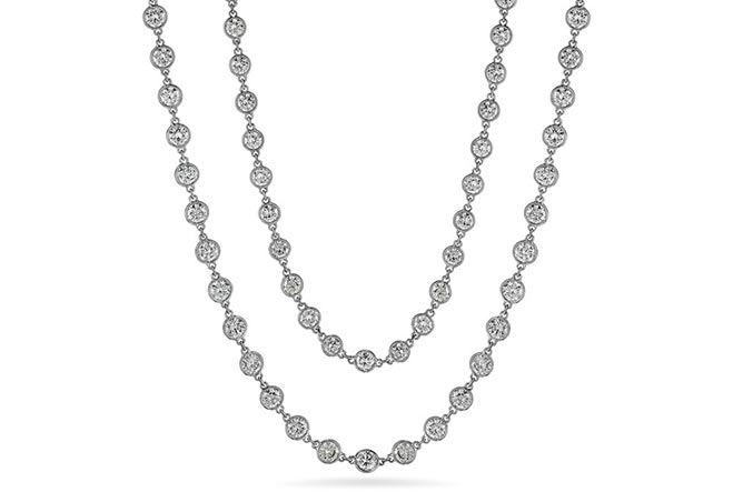 bezel-set diamond chain necklace