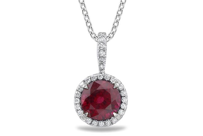 ruby diamond halo pendant