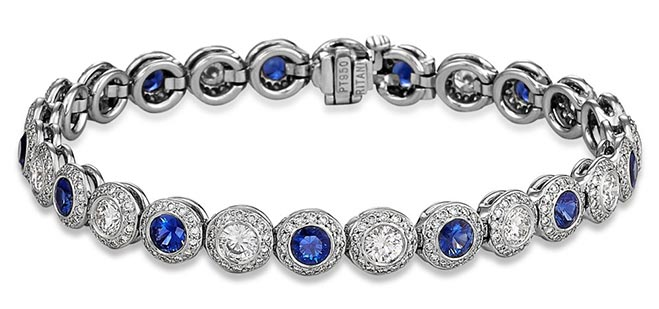 sapphire and diamond halo bracelet